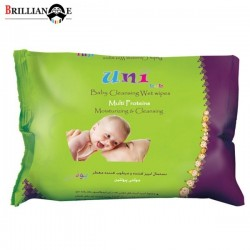 دستمال مرطوب کودک مولتی پروتئین 63 عددی پاکتی یونی بب